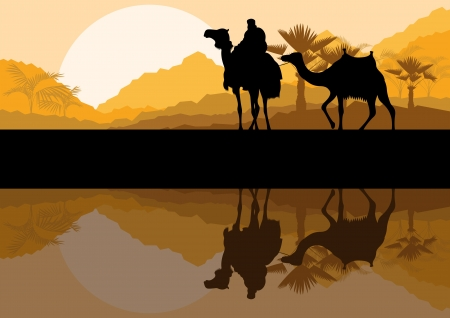 desert storm: Camel caravan in wild desert mountain nature landscape background illustration  Illustration