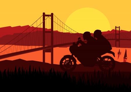 Motorbike riders motorcycle silhouette background Vector