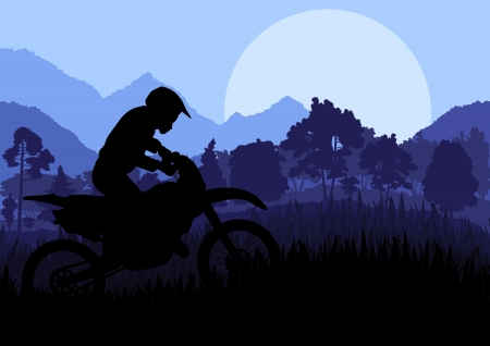 Motorbike riders motorcycle silhouette background Vector