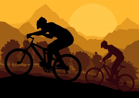 Mountain bike riders in wild forest mountain nature landscape background illustration  Vector