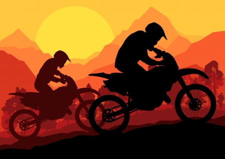 Motorbike riders motorcycle silhouette background Stock Vector - 16932609