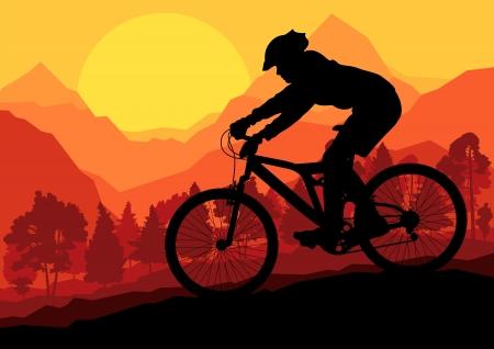 mountain biker: Mountain bike riders in wild forest mountain nature landscape background illustration  Illustration
