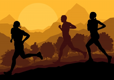 Man and women marathon runners background Stock Vector - 16932537