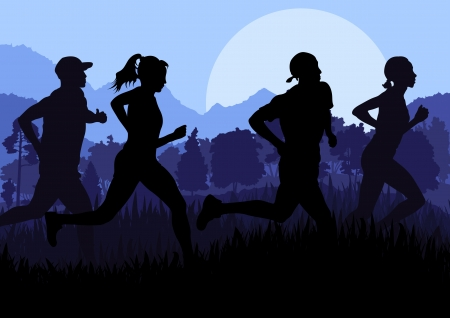 jogging in nature: Man and women marathon runners background Illustration