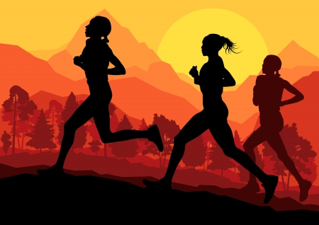 marathon runner: Man and women marathon runners background Illustration