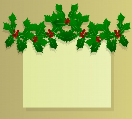 Christmas holly berry vintage holiday decoration illustration background  Stock Vector - 16932518