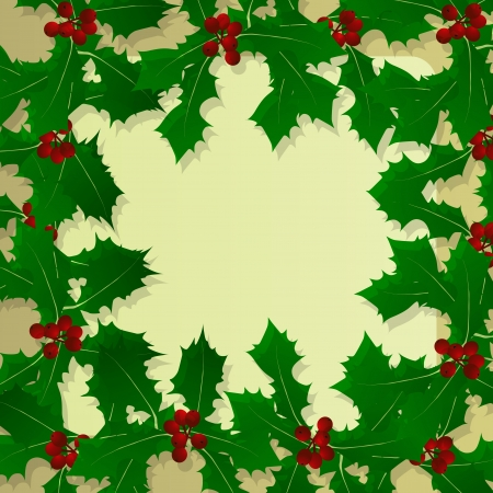 Christmas holly berry vintage holiday decoration illustration background  Vector