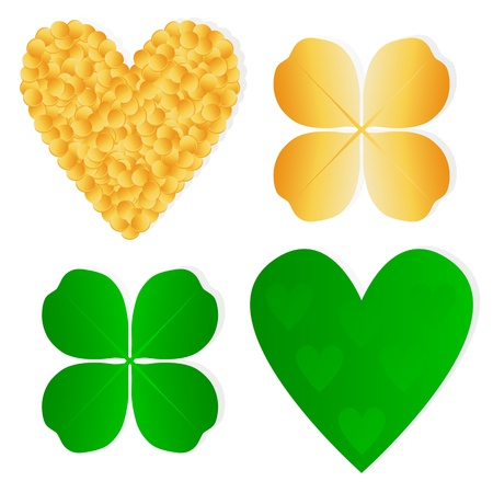 Four leaf clover shamrock luck vector and gold coins background set Stock Vector - 17408220