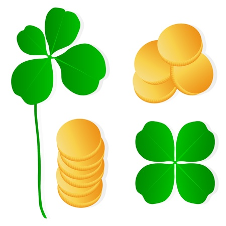 Four leaf clover shamrock luck vector and gold coins background set Stock Vector - 17407991