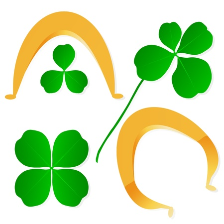 Four leaf clover shamrock luck vector and gold horseshoe background set Stock Vector - 17407978