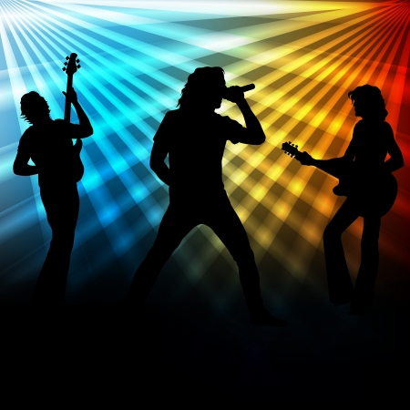 stage performer: Rock band vector background with neon lights for poster