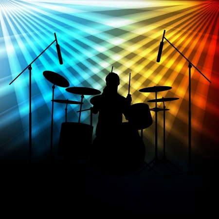 Rock band vector background with neon lights for poster Stock Vector - 17408186