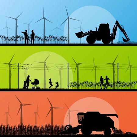 generadores: Los generadores e�licos de electricidad y molinos de viento en la aldea rural