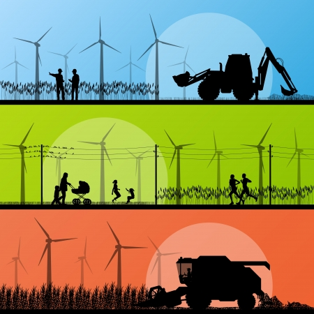 Wind electricity generators and windmills in countryside village  Vector