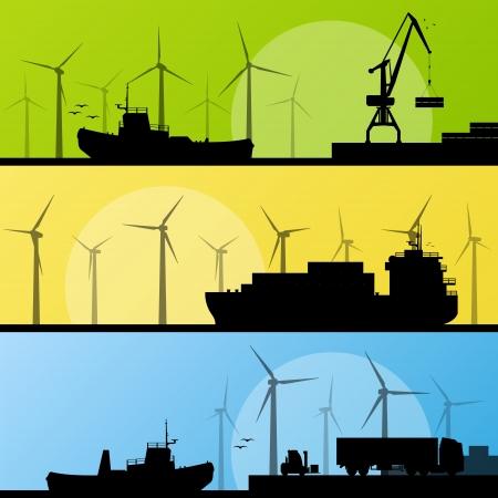 generadores: Los generadores e�licos de electricidad y molinos de viento y mar oc�ano lin puerto para el cartel