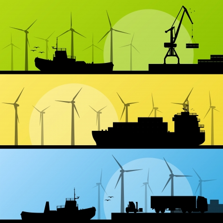 Wind electricity generators and windmills lin ocean and sea harbor for poster Vector