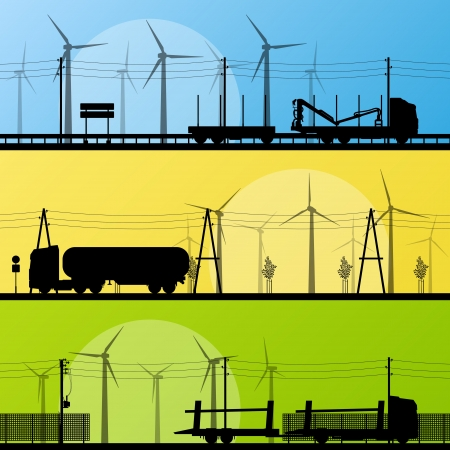 Wind electricity generators and windmills in countryside highway for poster Vector