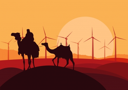 Wind electricity generators, windmills and camel caravan in desert  Vector