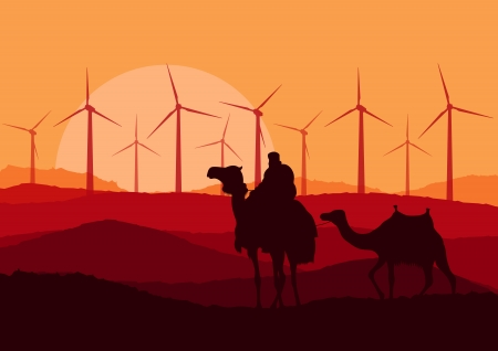 Wind electricity generators, windmills and camel caravan in desert  Stock Vector - 17408049