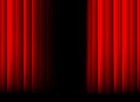 rideau sc�ne: Rideau de sc�ne rouge avec la lumi�re, l'ombre et l'espace noir au milieu