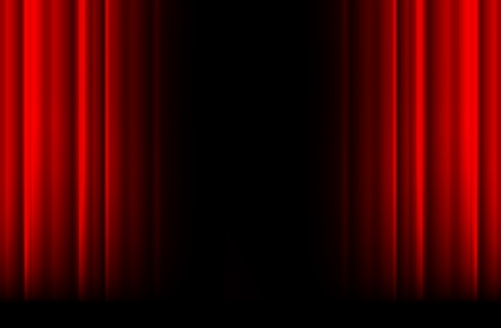 red curtain: Red stage curtain with light, shadow and black space in middle