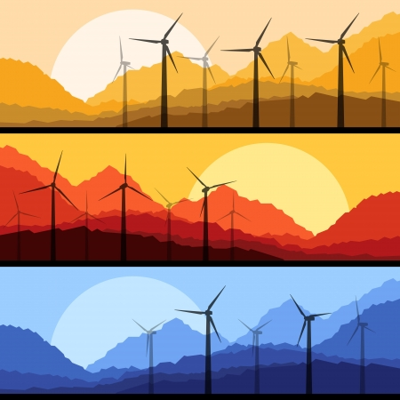 Wind electricity generators and windmills in mountain  Stock Vector - 17408027