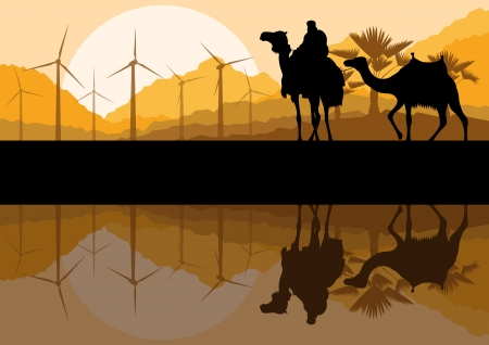 Wind electricity generators, windmills and camel caravan in desert  Stock Vector - 17408099