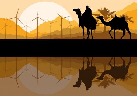 generators: Wind electricity generators, windmills and camel caravan in desert  Illustration