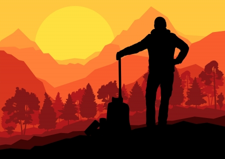 logger: Loggers with axes in wild mountain forest nature landscape vector Illustration