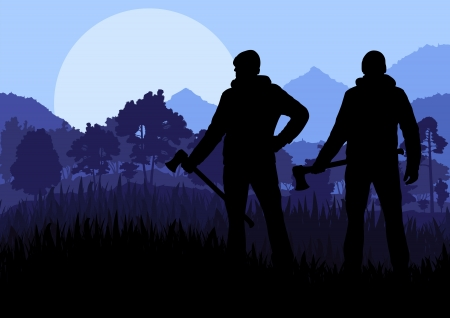 Loggers with axes in wild mountain forest nature landscape vector Vector