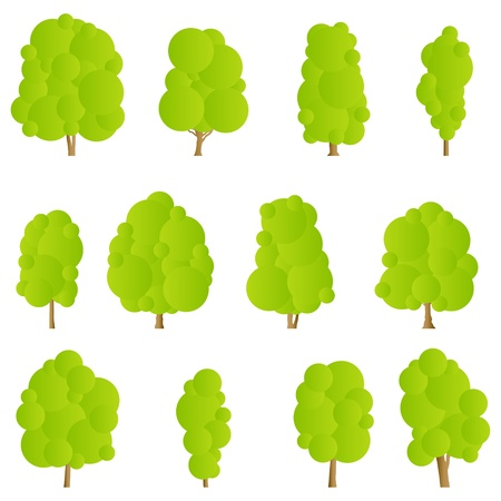Nature trees detailed forest silhouettes illustration collection  Stock Vector - 17408024