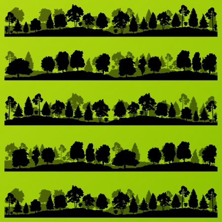 Forest trees silhouettes landscape illustration collection  Vector