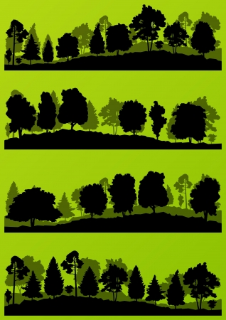 Forest trees silhouettes landscape illustration collection  Stock Vector - 17408190