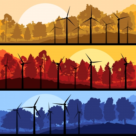 Wind electricity generators and windmills in mountain  Stock Vector - 17408150