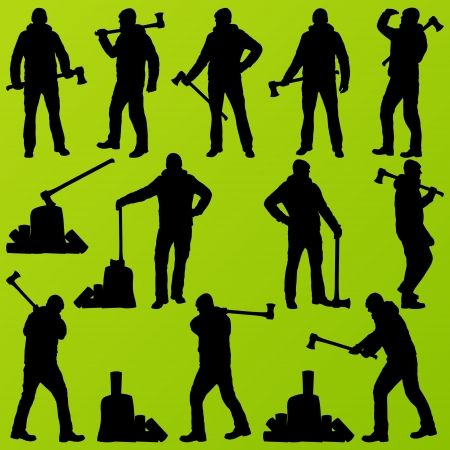 logger: Woodcutter set vector background with man and wood ax Illustration