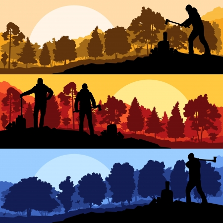 lumber industry: Loggers with axes in wild mountain forest nature landscape vector Illustration
