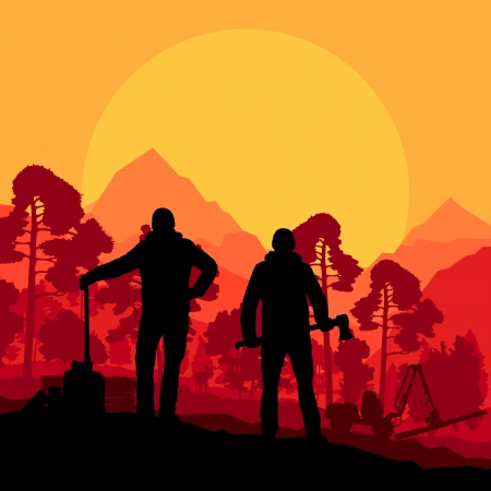 ax: Loggers with axes in wild mountain forest nature landscape vector Illustration
