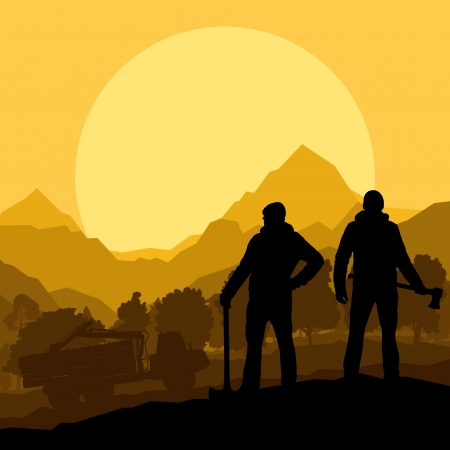 forestry: Loggers with axes in wild mountain forest nature landscape vector Illustration