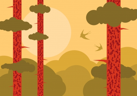 Forest tree nature landscape ecology illustration background vector Vector