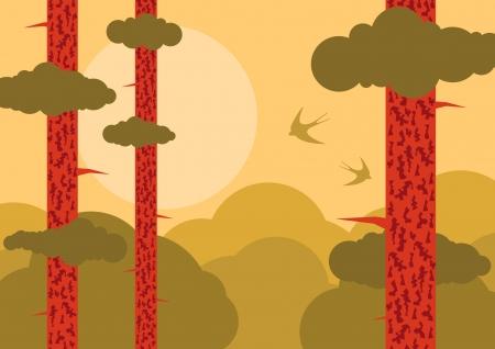 Forest tree nature landscape ecology illustration background vector Stock Vector - 17408047
