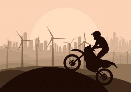 Wind electricity generators, windmills and all terrain motorcycle in desert city landscape ecology illustration background vector Stock Vector - 17408068