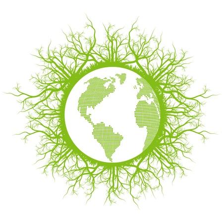 recursos naturales: Eco amistoso planeta tierra verde con el fondo del vector ecología raíces Vectores