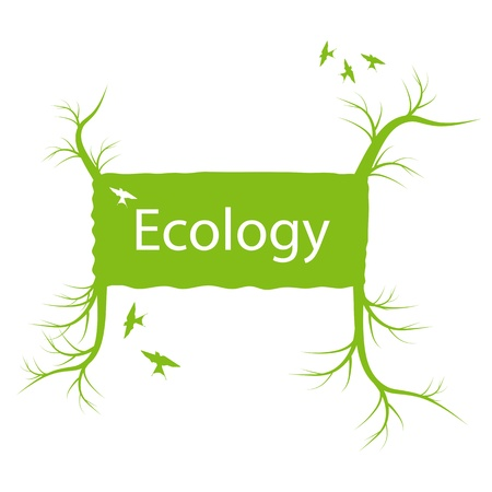 Ecology banner with green tree and roots vector concept Stock Vector - 17407984