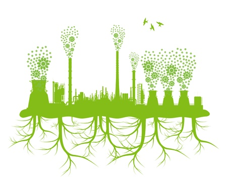 Ecology factory chimney vector background concept with no pollution and green planet roots Stock Vector - 17408144