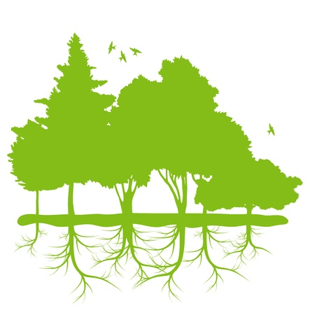 Trees with roots background ecology planet vector concept Stock Vector - 17407992
