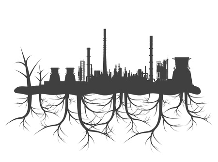smoke stack: Industrial factory pollution concept with black planet roots for poster