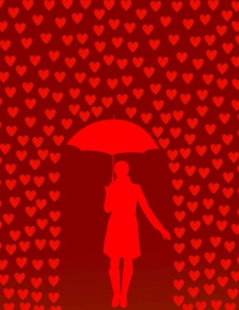 Valentines day card with raining hearts and woman with umbrella concept Vector