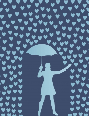 full length woman: Valentines day card with raining hearts and woman with umbrella concept