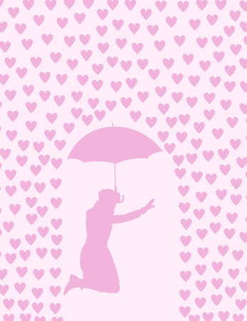 Valentines day card with raining hearts and woman with umbrella concept Stock Vector - 17407981