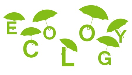 Ecology green concept made of letters with umbrellas Vector